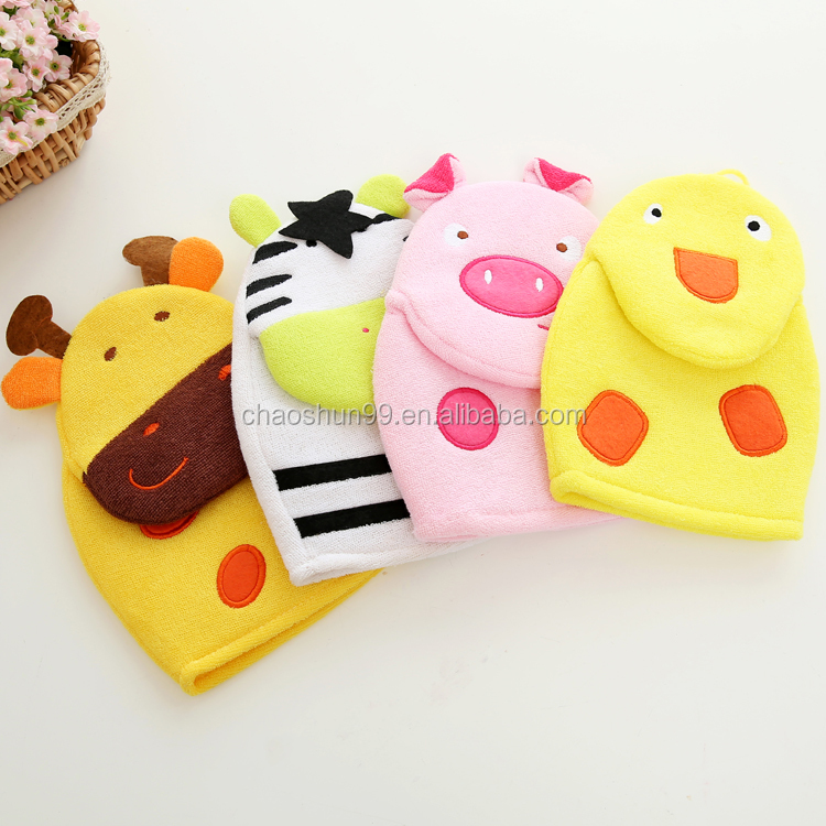 OEM Baby Terry Towel Bathing Washcloth Baby Animal Bath Mitt Glove