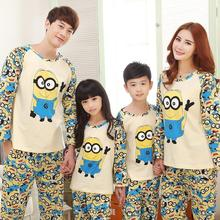 NEW fashion family christmas pajamas cartoon minion pajama set top pants matching clothes cotton family clothing