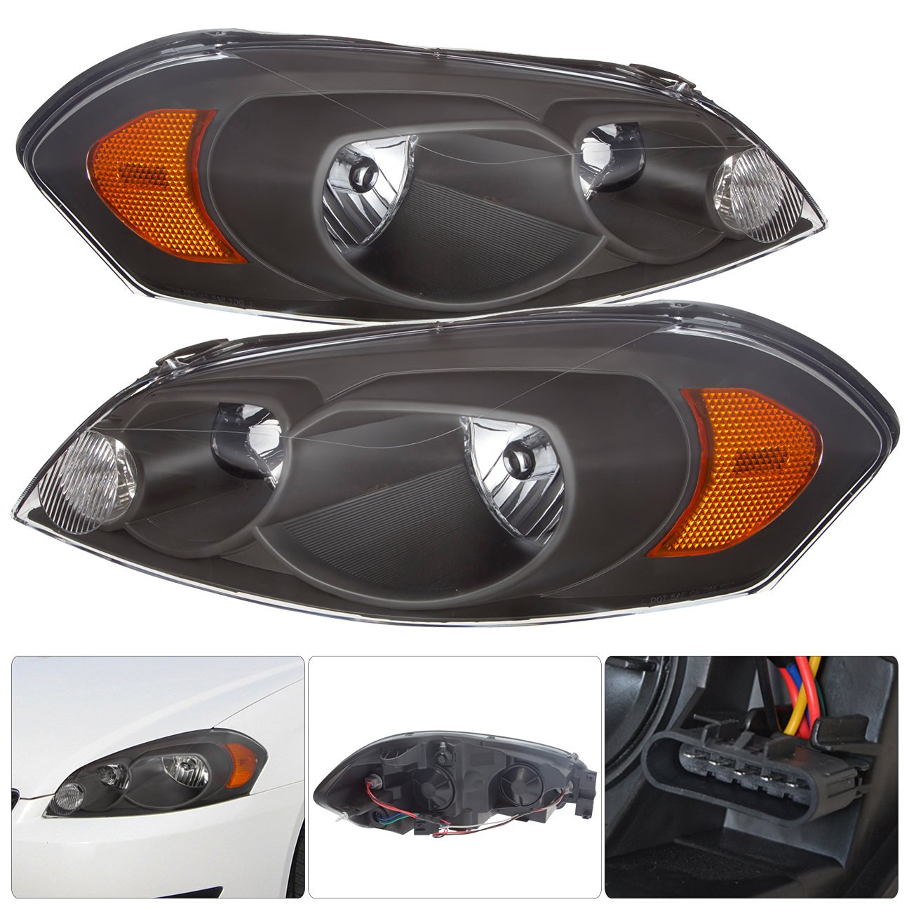 Get Quotations Replacement Headlight Embly Set Pair For Chevy Impala Monte Carlo
