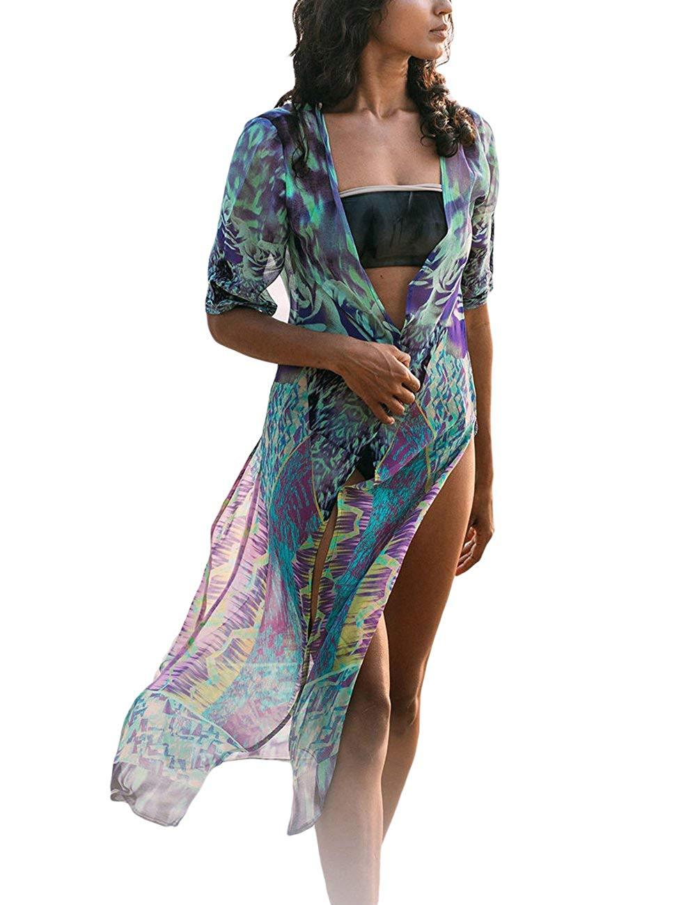 5219e6db74 Get Quotations · Bsubseach Womens Chiffon/Rayon Beach Blouses Kimono  Cardigan Long Bikini Cover Up