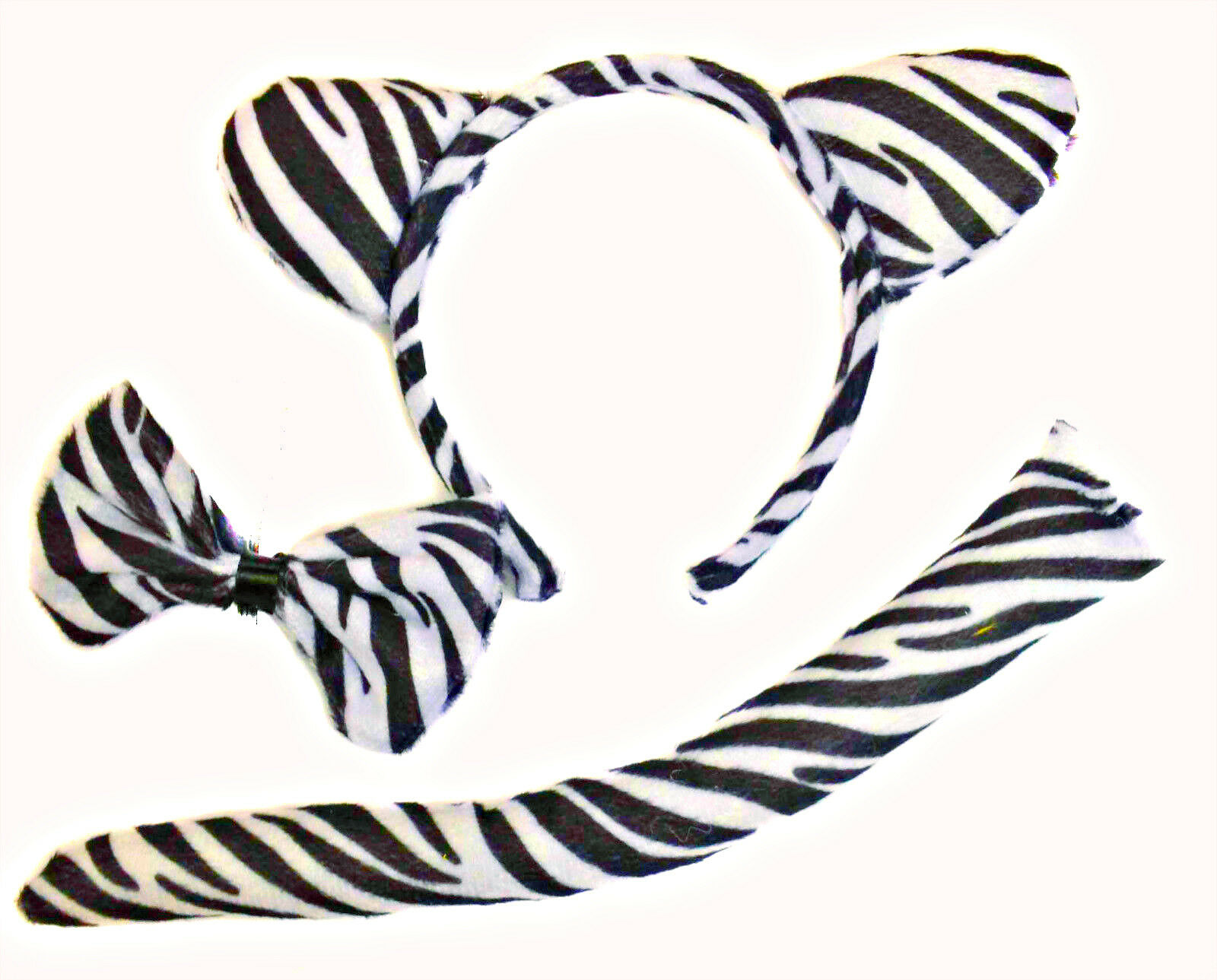 Zebra Ears Headband Tail Costume Accessory Set NEW