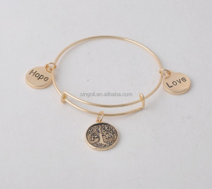 Classic Letter Engraved Charm Bracelet newest tree open adjustable size bangle