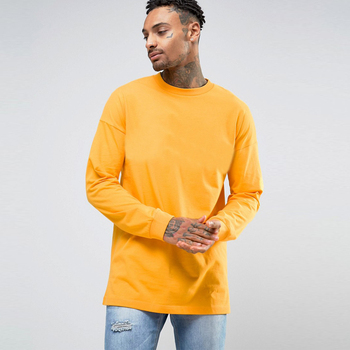2019 ZY wholesale men long sleeve dropped shoulder crew neck 100%cotton t shirt
