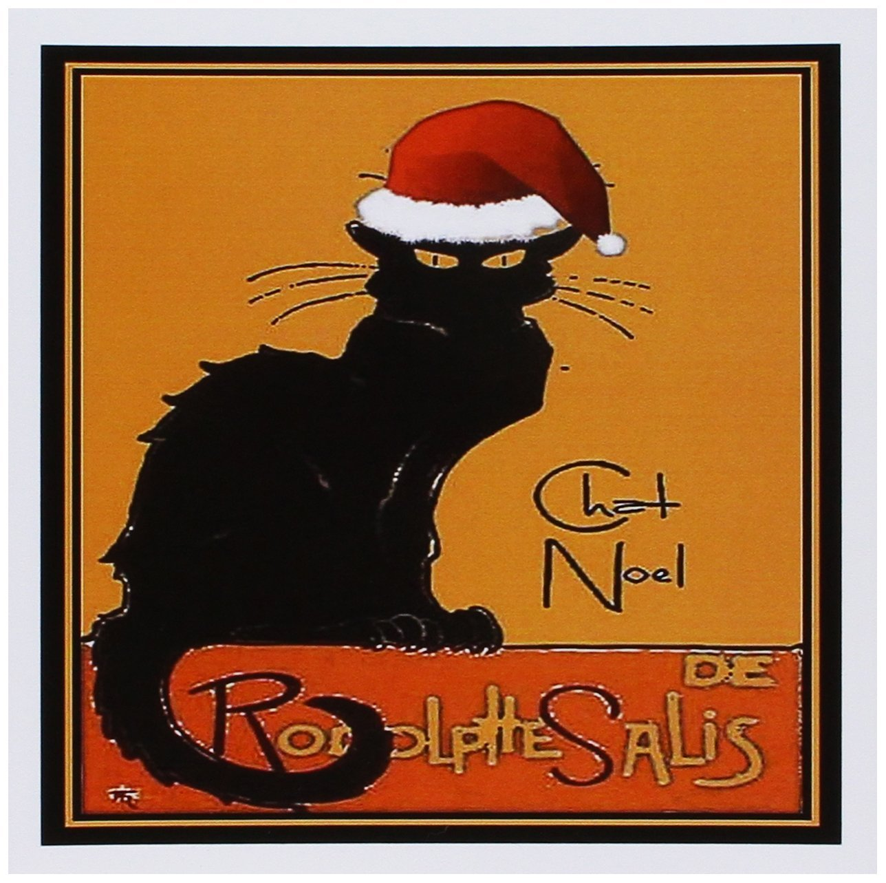 3dRose Le Chat Noel - advertising, art nouveau, black cat, cat, cats, chat noir, le chat - Greeting Cards, 6 x 6 inches, set of 12 (gc_47077_2)