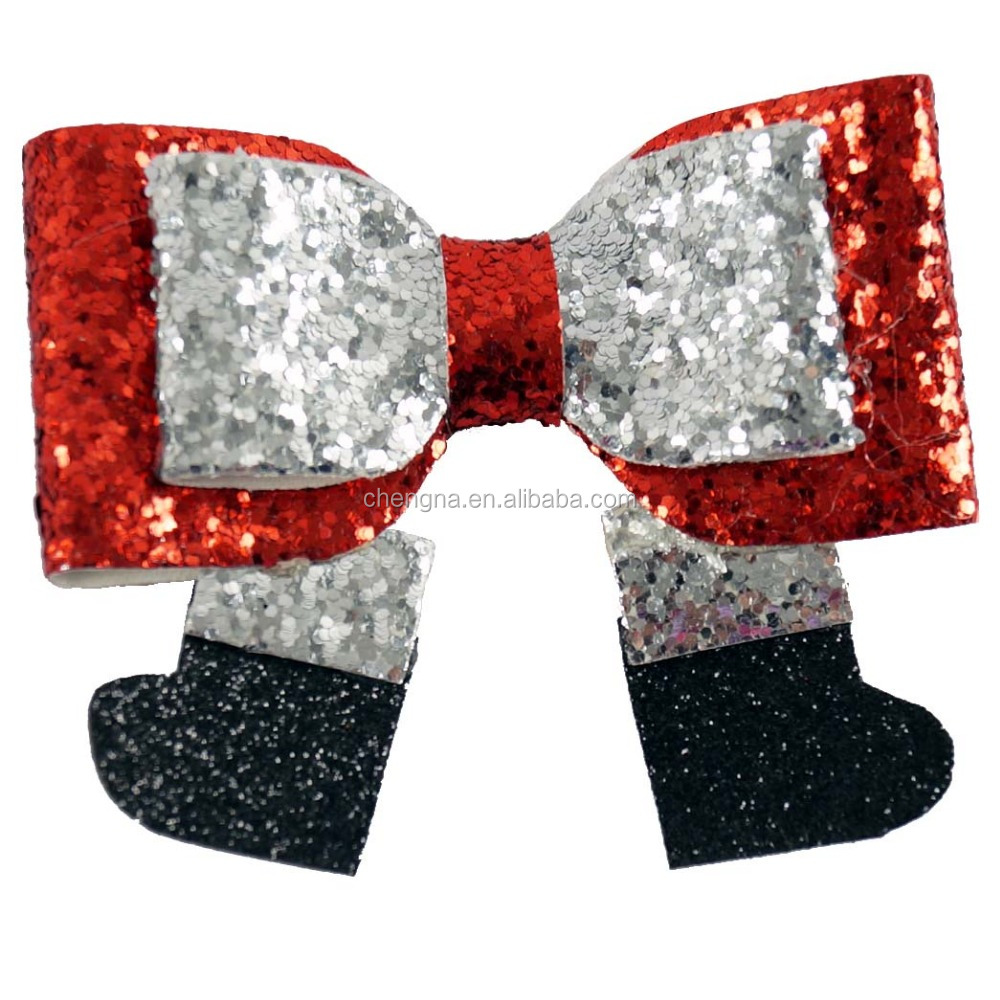 Boutique 3 inch Sparking Glitter Leather Hair Bow Clip for Girls HBW-1612053-6