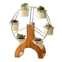Creative Ferris Wheel Flower Design Pot Bamboo Stand 6 Succulent Plant Pot Holder Garden Decor Planter