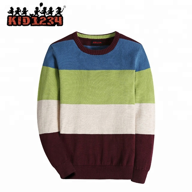 Personalizado criança algodão em torno do pescoço de malha camisola menino  pullover 6b0f51adc89e