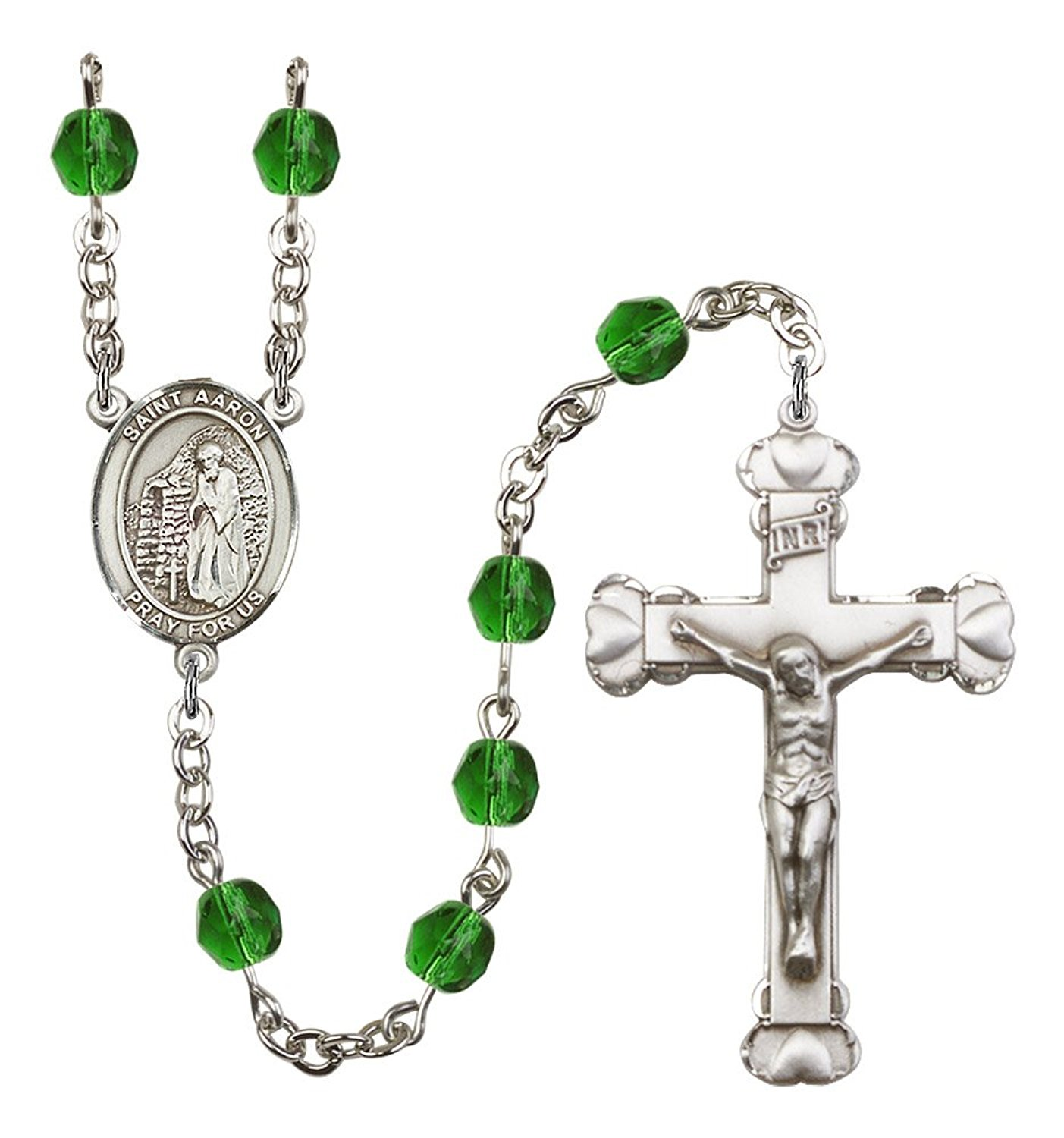 Silver Finish St. Aaron Rosary with 6mm Emerald Color Fire Polished Beads, St. Aaron Center, and 1 5/8 x 1 inch Crucifix, Gift Boxed