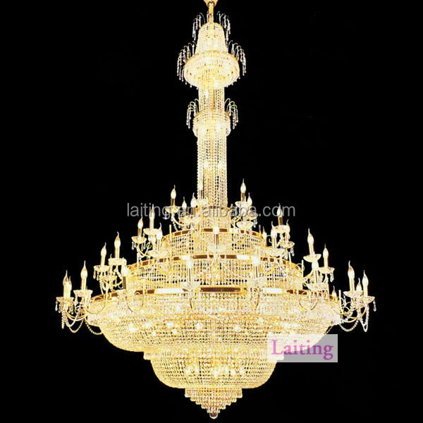 2016 Hotel Lobby Gold Chandelier Lamp Big Modern Crystal Chandeliers for High Ceiling