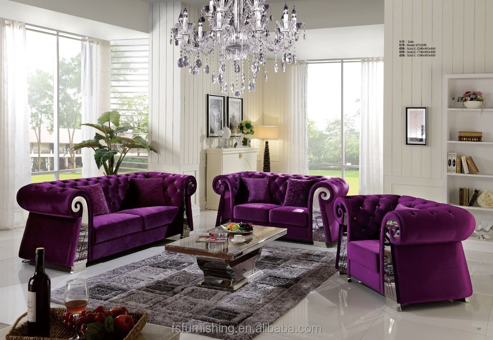 fs206 moderne contemporain couleur pourpre de haute qualit velours tissu en acier inoxydable mtal salon salon - Salons Moderne En Velours