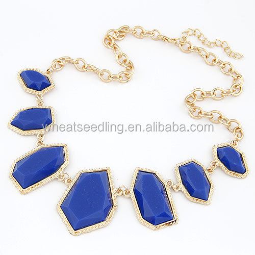 New Design hot sale bridal wedding jewelry necklace Sapphire charm necklace
