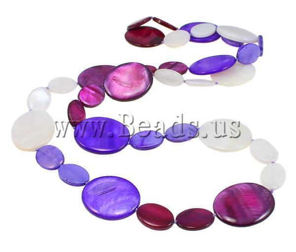 Бесплатная Доставка Shell Ожерелья, плоские Овальные, окрашенные, смешанные цвета, 18-30 мм, длина: около 31 Дюймов, продан за ок 31-дюймовый Прядь