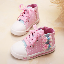 FC2163 autumn 2016 new style children's shoes high foot girls canvas shoes small flower sports leisure running boys girls shoes