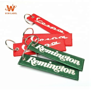 Wholesale Custom Private Brand Name Logo Promotional OEM Fully Embroidered Metal Ring Keychains