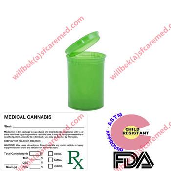 Plastic Child Resistant Vials Storage Containers Pot Pop Medical