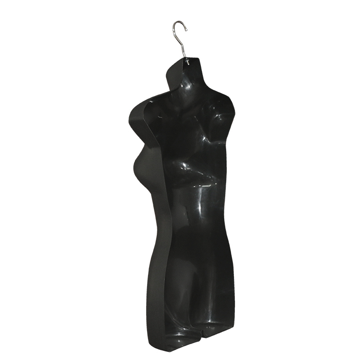 Female Black Torso with Hanger Plastic Hanging Dress Form