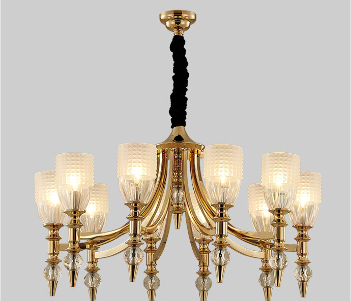 Shenzhen lighting wholesale gold large crystal modern chandelier for high ceilings