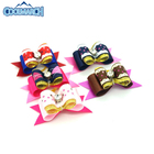 Pet accessories hairpin 100% polyester grosgrain ribbon pet hair clip for little dog