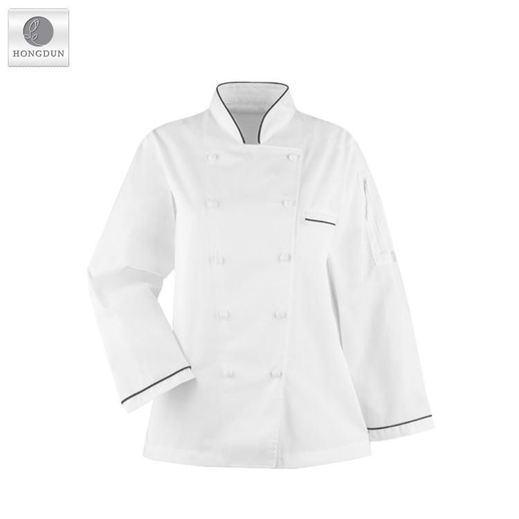 7fcbd0c3de Cozinheiro chefe Vestuário Unisex Manga Longa Restaurante Uniforme Jaqueta  Casaco Com Bolsos para Canetas