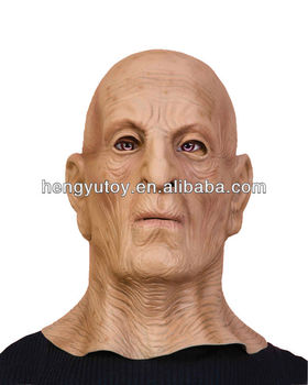 creepy vinyl old man mask scary face halloween costume wrinkled skin bald head