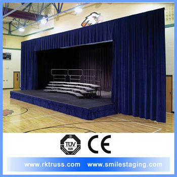 Portable Theater Stage Curtains And Curtain Pipe For Sale