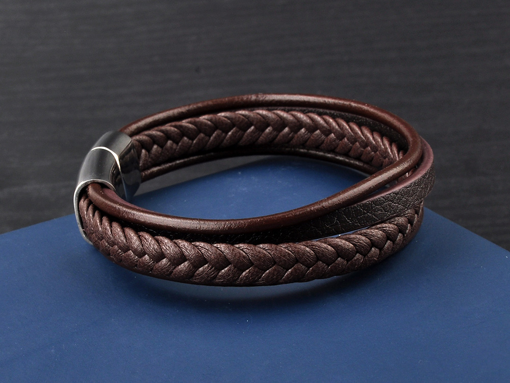 China Supplier Wholesale Fashion Magnetic Clasp Genuine Italian Handmade Braided Leather Bracelet For Men