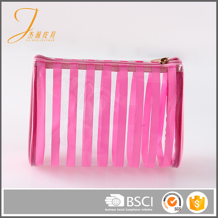 Custom durable stripe PVC travel small cosmetic bag