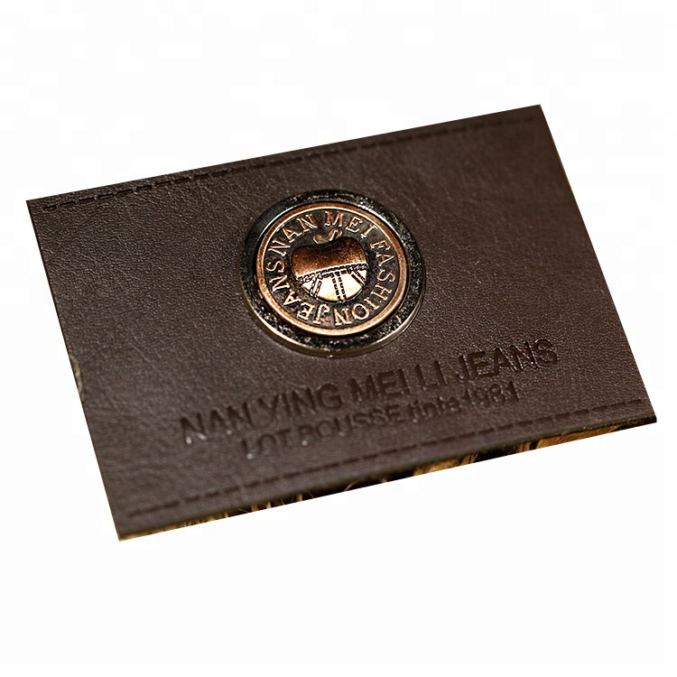 Leather label with metal/ genuine leather patch/ metal garment label