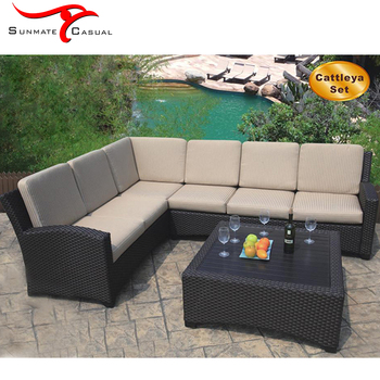 Morden Outdoor Furniture Garden Patio Sectional Sofa Bed Set With Cushion