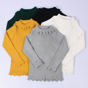 Turtle neck ruffle ribbed girl sweater with five colores available