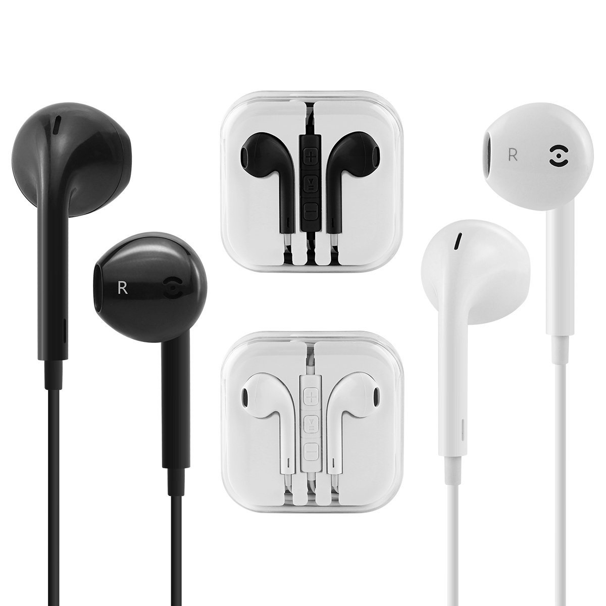 862f0ca8b11 Get Quotations · Aocosi Apple earphones Apple Stylish In-Ear Earbuds 2Pack  white and black Wired Earphones with