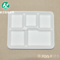 Biodegradable bagasse pulp 5 compartments lunch tray