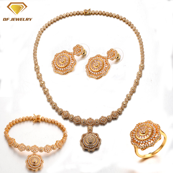 18k gold plated jewelry set factory price brass ring/earrings/necklace/bracelet