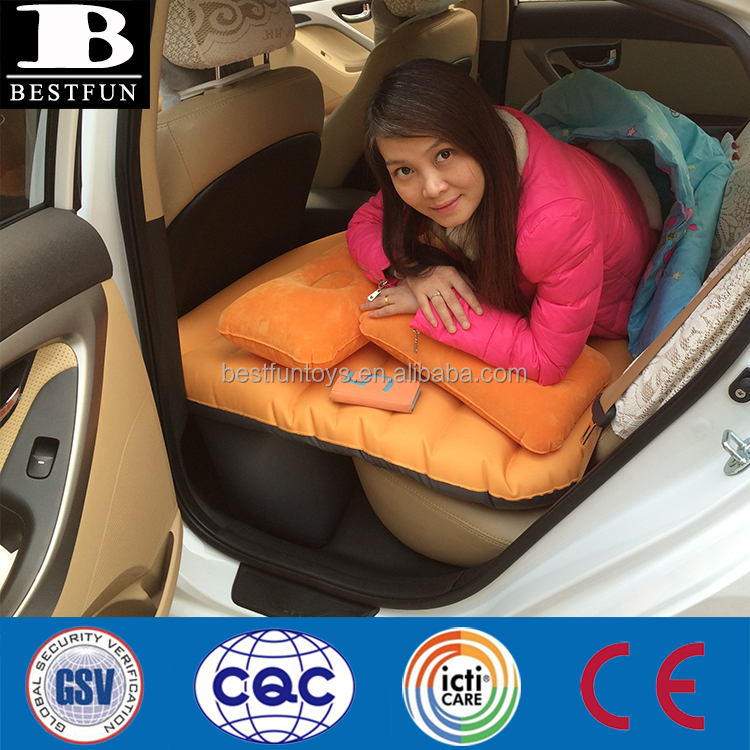 high strenght flocking plastic inflatable bed sex air car bed folding portable inflatable car backseat mattress