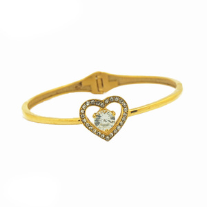 Fashion Simple Ladies Bangle Jewelry Stainless Steel Braided Women Gold Rhinestone Love Heart Bangle