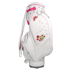 OEM White PU Leather Cart Golf Bag Waterproof Woman golf Bag Cart embroidery logo Stylish Lady Leather golf club Bag