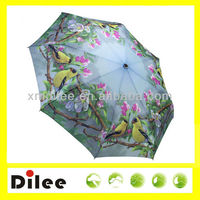 full printing polyester Gold Finches cute 3 folding umbrella