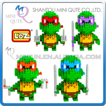 Mini Qute Ninja turtle cartoon boys loz diamond block plastic cube building blocks bricks educational toy 3d puzzle NO.9148