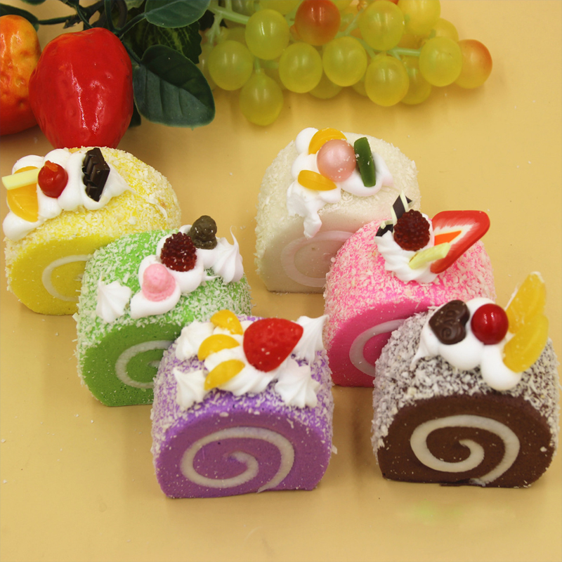 Fruit Cream Roll Cake buns Kawaii Squishy slow rising jumbo Bread Cell Phone Key chain Strap Pendant roll Squishes PU toys