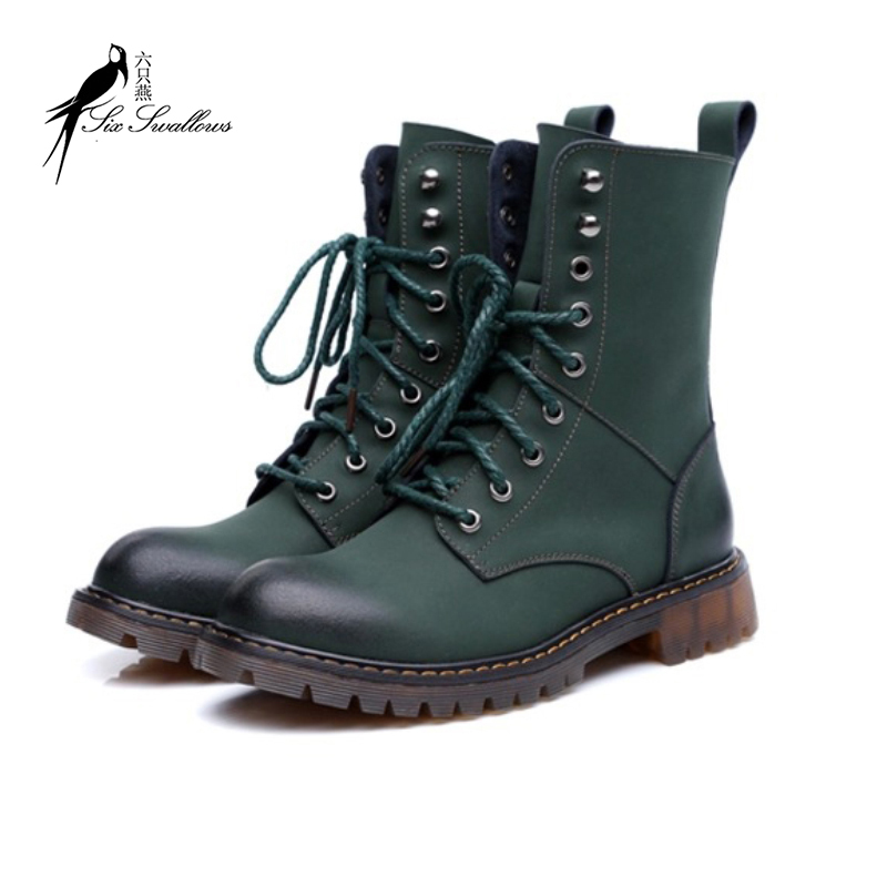 60d935e7e219 Get Quotations · Hot sale genuine leather boots cowhide martin boots women  square heel fashion real leather motorcycle snow