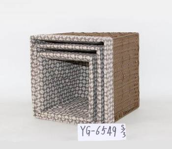 China Supplier Nesting PP Plastic Rattan Cube Storage Box With Lining, Set  Of 3