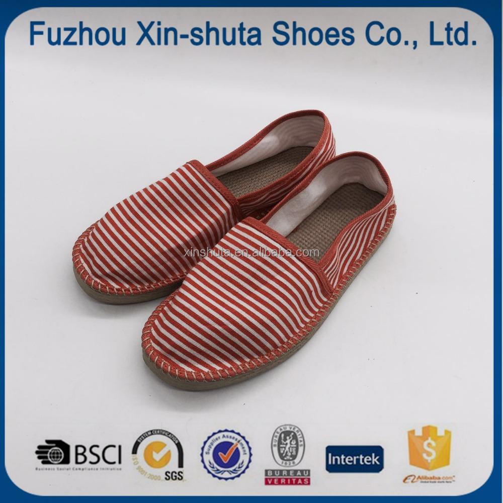 Diseño moderno estilo navy yute suela mujeres alpargatas zapatos de lona plana