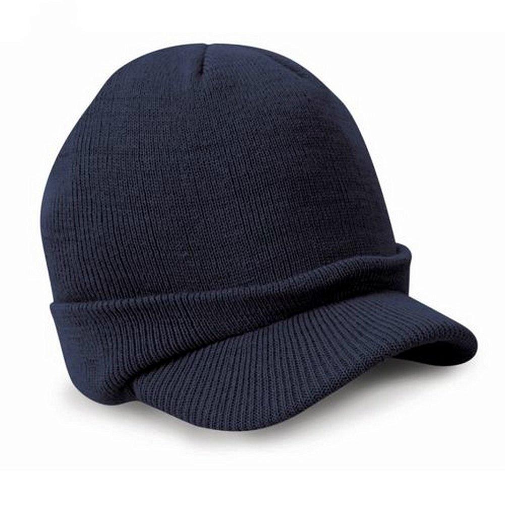 573859a87e8 Get Quotations · MEXUD Men Warm Baggy Crochet Visor Brim Beanie Brim Knit  Kufi Hat - Koopy Cap Ski