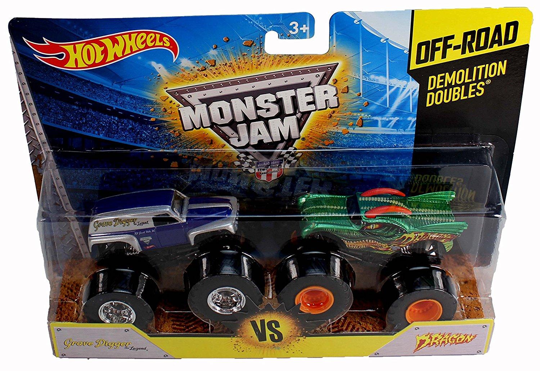 Hot Wheels Monster Jam Off-Rad Demolition Doubles Grave Digger the Legend VS Dragon