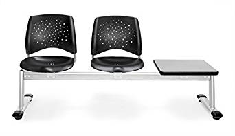 OFM 323T-P-BLK-GY Stars 3-Unit Beam Seating with 2 Plastic Seats and 1 Table