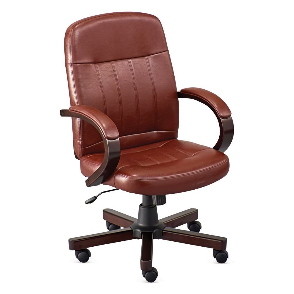 "OFFICIENT Faux Leather Conference Chair Dimensions: 27"" W x 27"" D x 39.5-43.5"" H Seat Dimensions: 20"" Wx18 Dx17.5-21.5"" H Weight: 47 lbs. Oxblood Faux Leather/Espresso Frame"