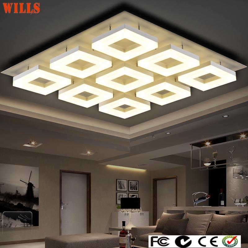 Luxus modernen quadrat acryl led deckenleuchten for Wohnzimmerleuchten led modern