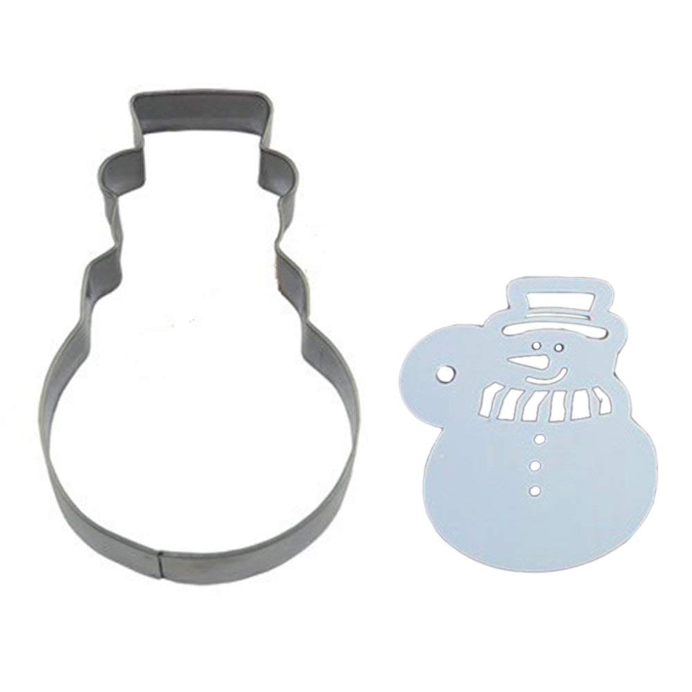 Stainless Steel Cookie Cutter Mold + Appropriate Cookie Spray/Brush Pattern 28# SNOWMAN