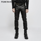 K-301 Newest Punk Rave Autumn men slim hunting leather trousers