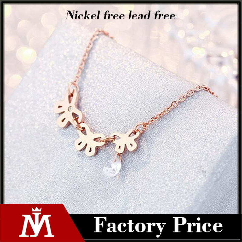 18k rose gold plated stainless steel CZ stone bow knot pendant charm necklace